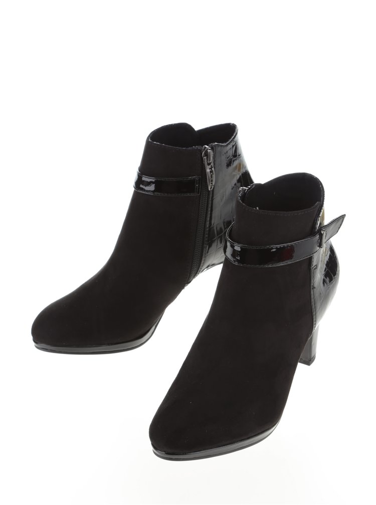 Černé kotníkové boty v semišové úpravě na vyšším podpatku Tamaris