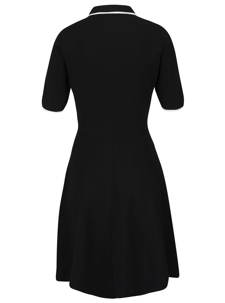 Čierne šaty s gombíkmi a golierom Dorothy Perkins