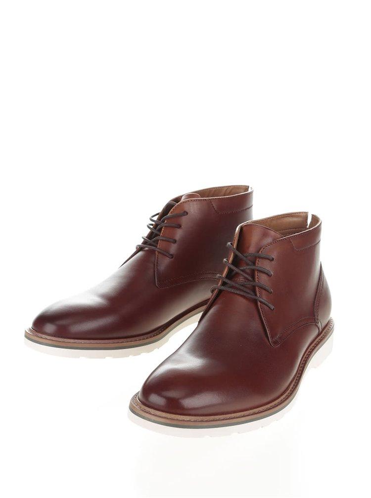 Hnedé pánske kožené členkové topánky ALDO Frazier