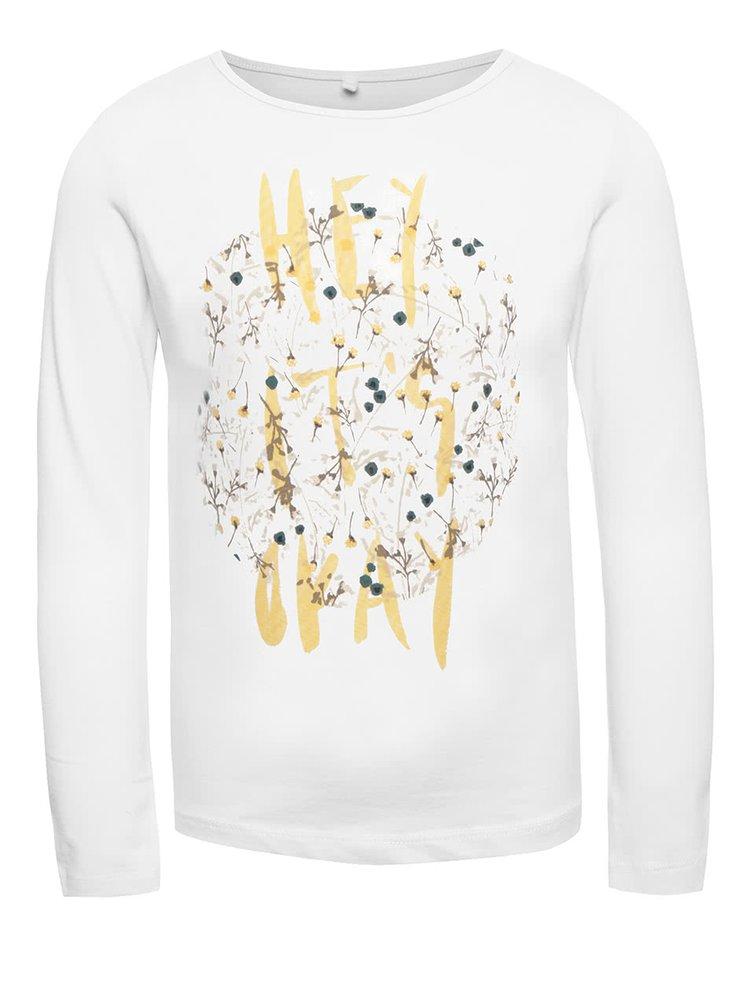 Biele dievčenské tričko s dlhým rukávom name it Kaja