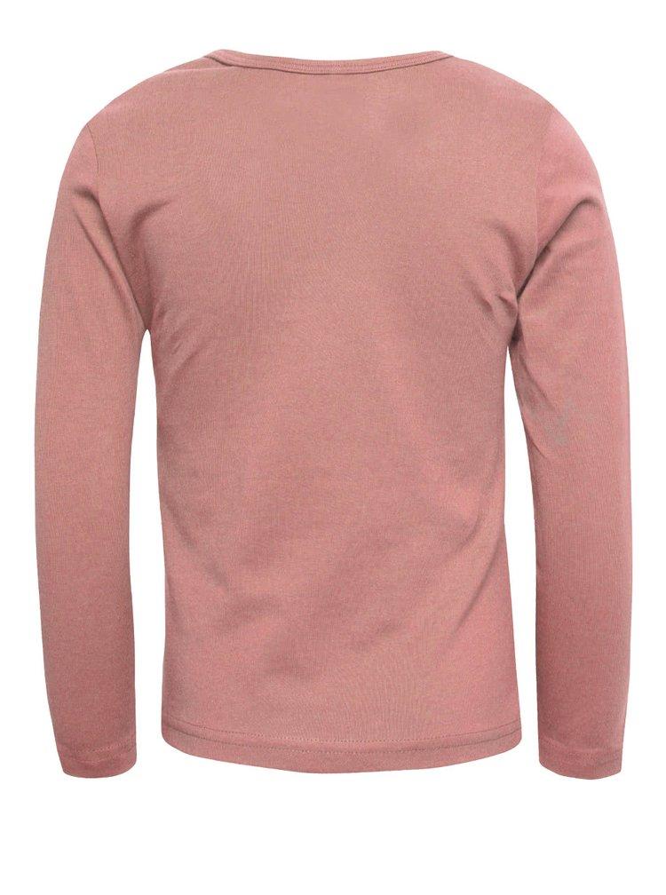 Ružové dievčenské tričko s dlhým rukávom name it Veen