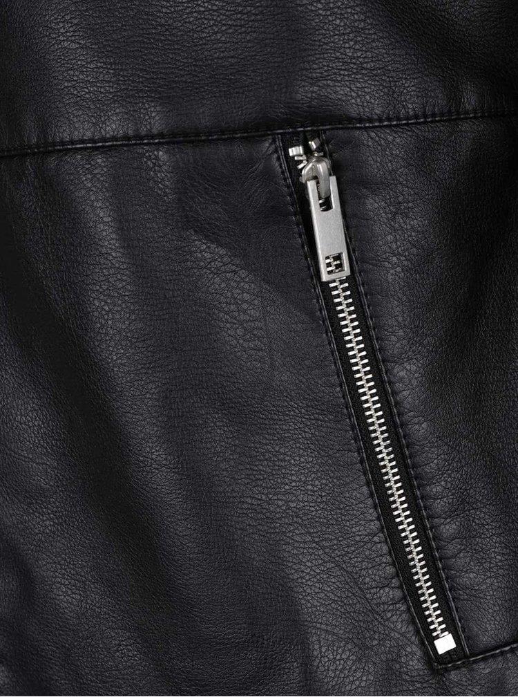 Čierna koženková bunda s prešívanou hornou časťou Jack & Jones Smith