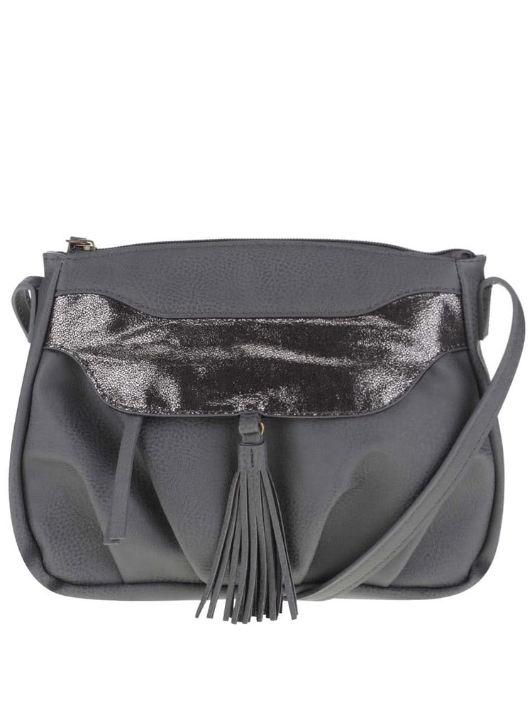 Sivá kabelka so strapcami Pieces Dalopsa