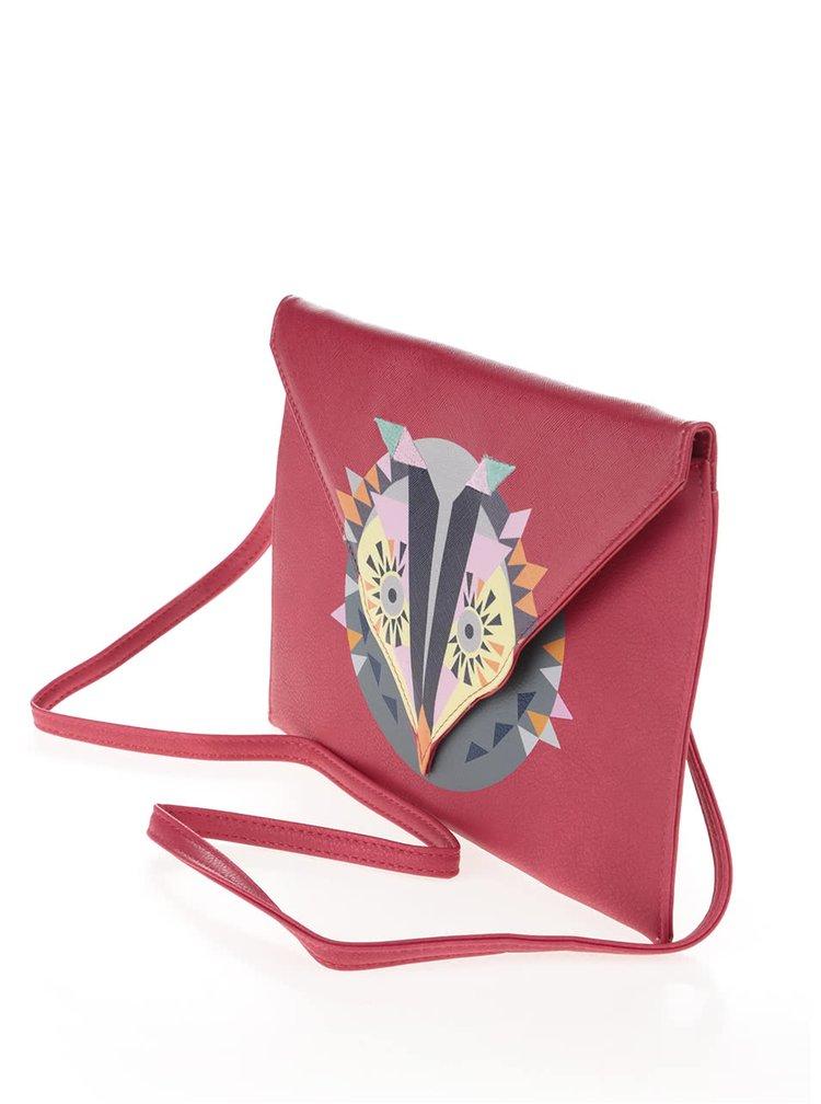 Červená crossbody kabelka/psaníčko s potiskem Disaster Dakota