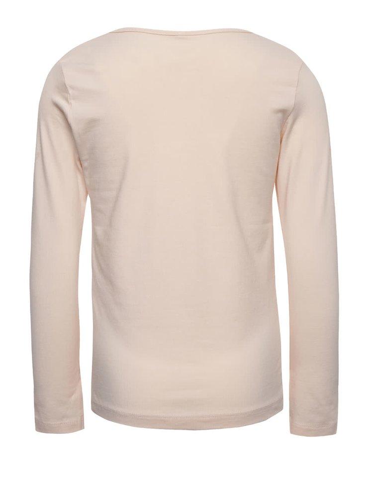Ružové dievčenské tričko s dlhým rukávom name it Kaja