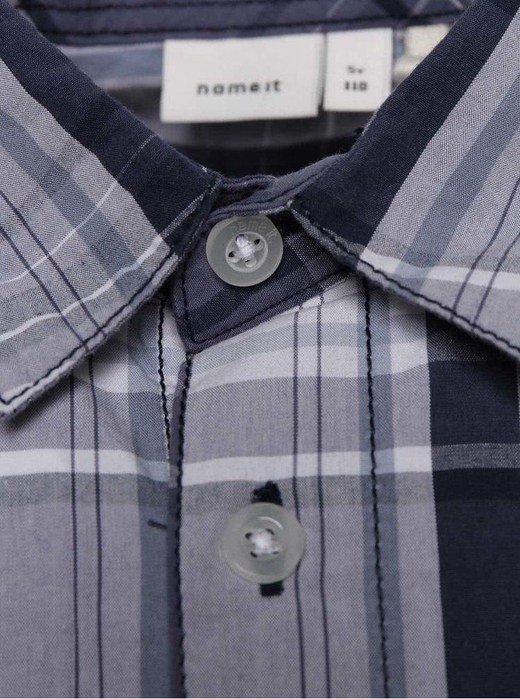 Modrá klučičí kostkovaná košile name it Nohn