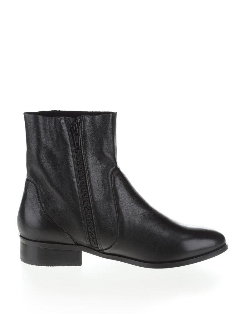 Černé kožené kotníkové boty ALDO Elia