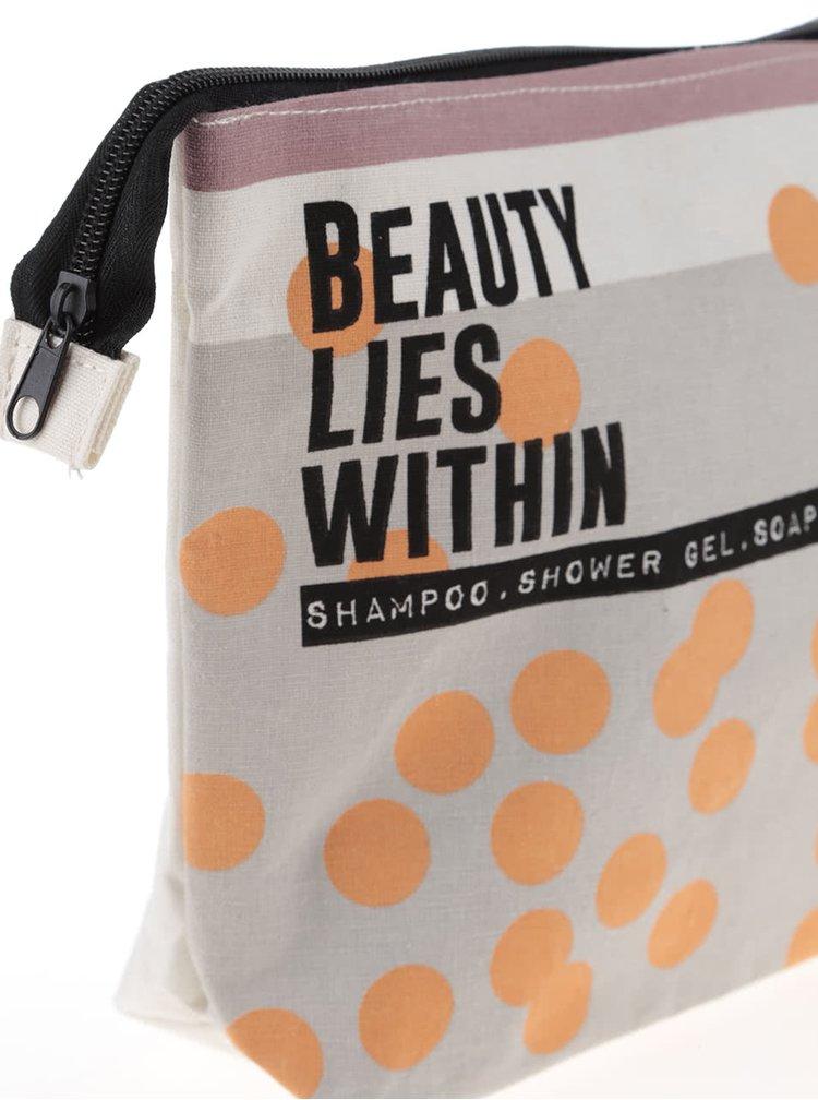Oranžovo-krémová toaletná taštička Disaster Arm Candy