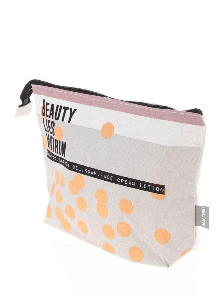 Oranžovo-krémová toaletní taštička Disaster Arm Candy