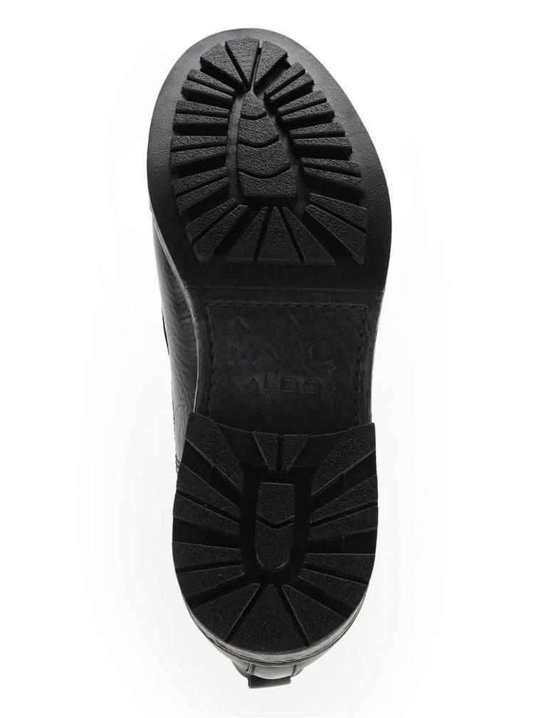Čierne pánske kožené členkové topánky ALDO Niman