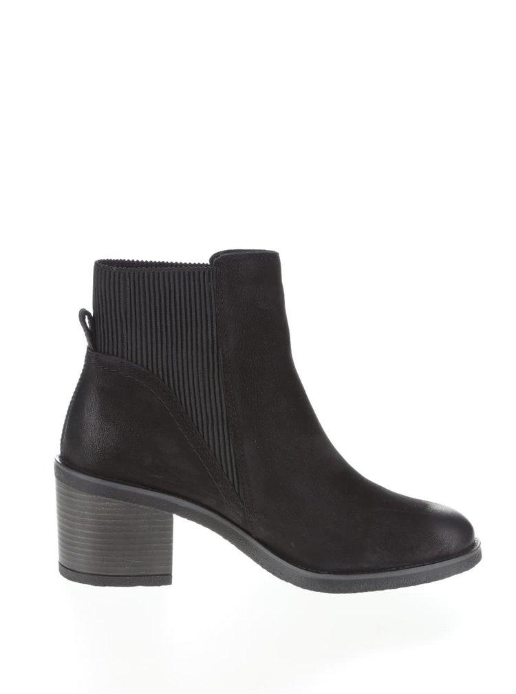 Černé kožené boty na podpatku ALDO Boscara