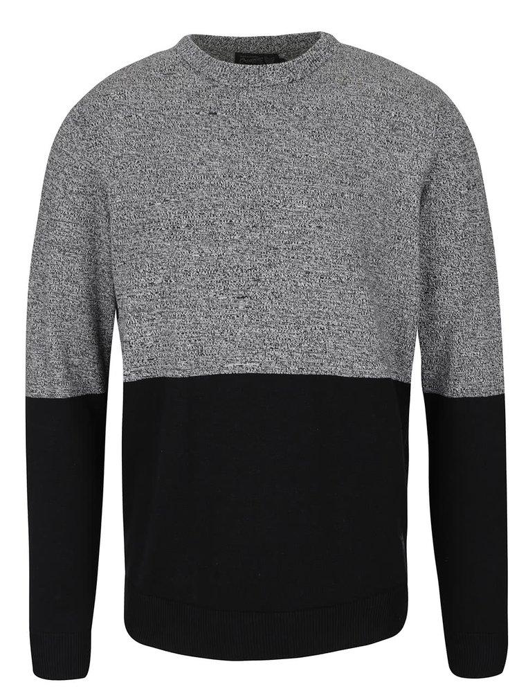 Bluza gri & negru Jack & Jones Lee din bumbac