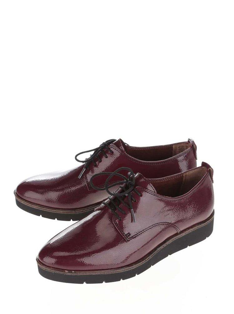 Vínové kožené topánky na vzorovanej podrážke Tamaris