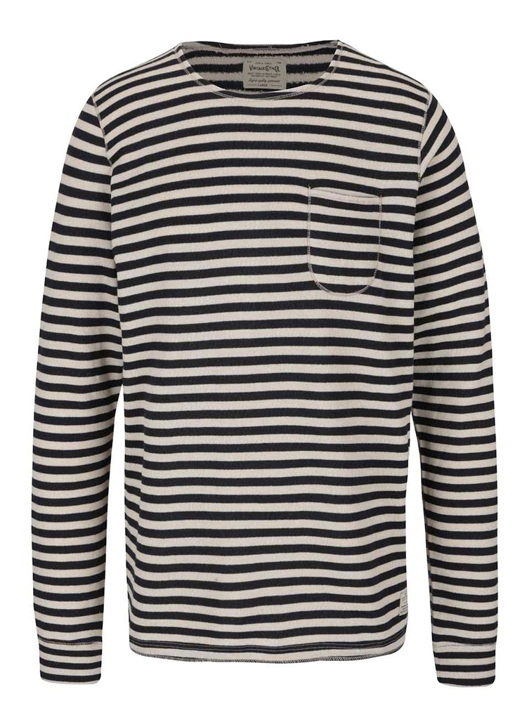 Bluza bej & albastru Jack & Jones Bill cu model in dungi