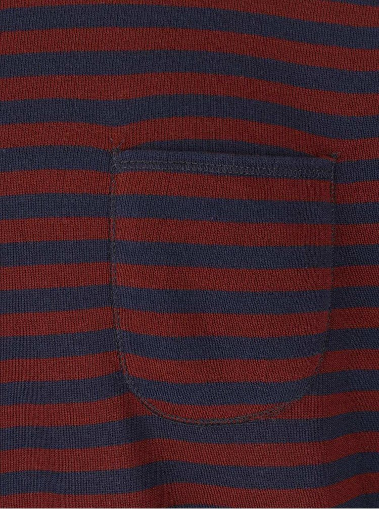 Modro-tehlový tenký pruhovaný sveter Jack & Jones Bill
