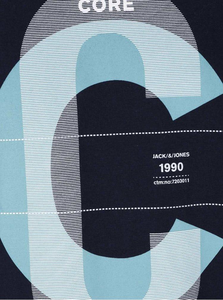 Tricou albastru închis Jack & Jones Numbers din bumbac cu print