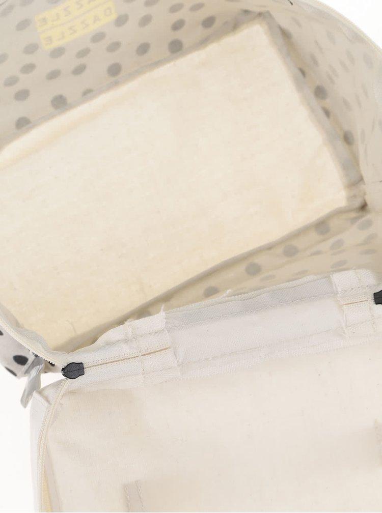 Krémovo-šedá kosmetická taštička s černými puntíky Disaster Arm Candy