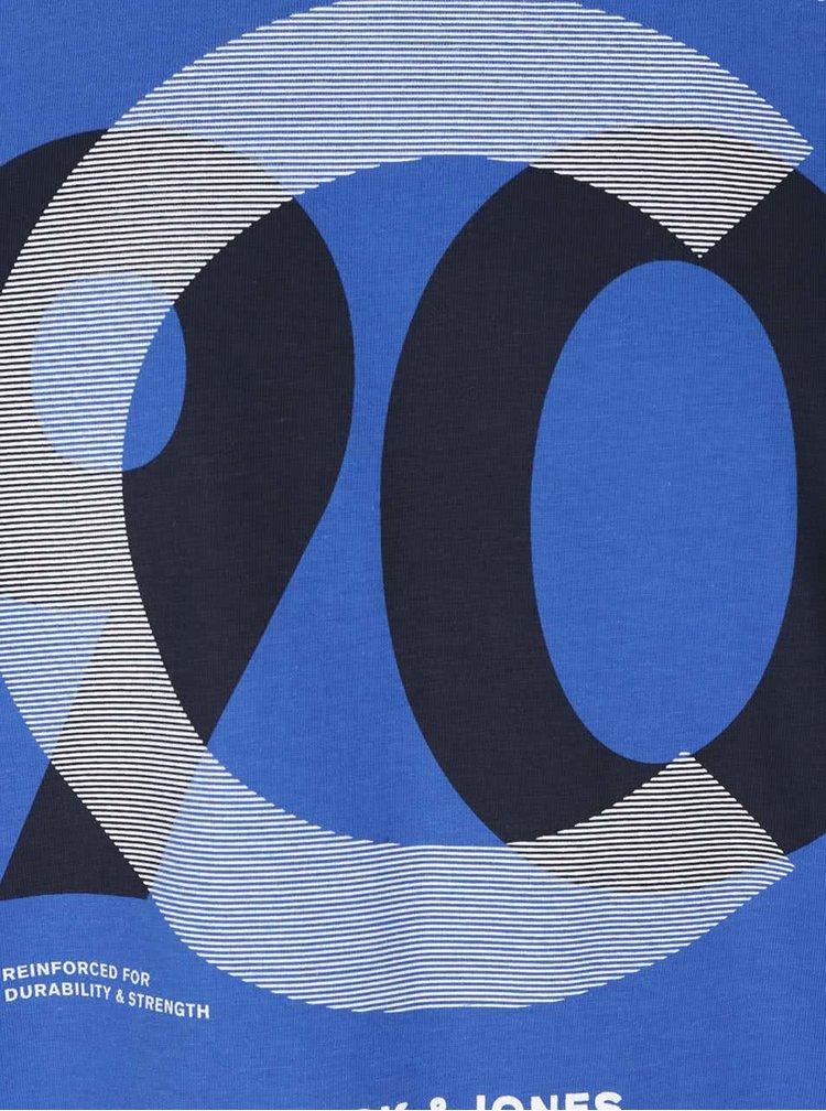 Tricou albastru Jack & Jones Numbers din bumbac cu print
