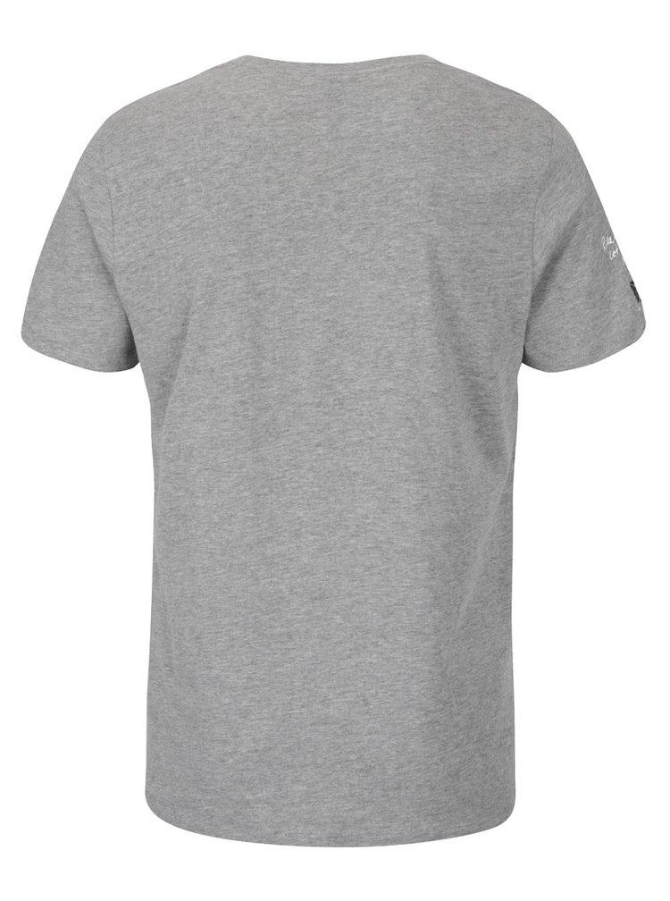 Svetlosivé tričko s potlačou a nášivkou Jack & Jones Sound