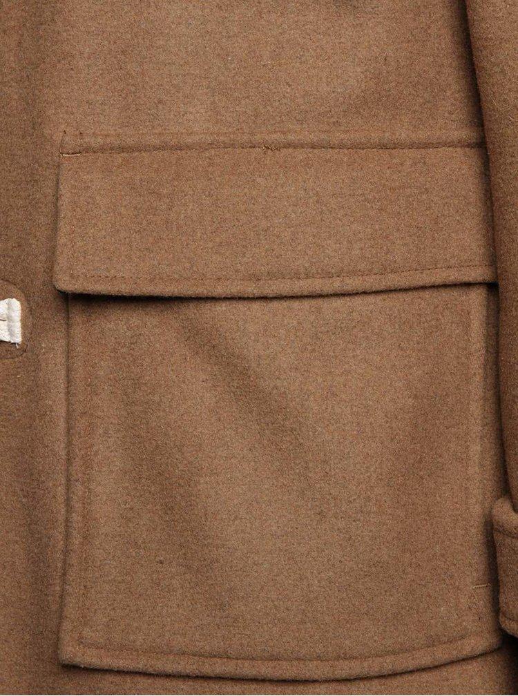 Světle hnědý vlněný kabát s kapucí Selected Homme Carlyle