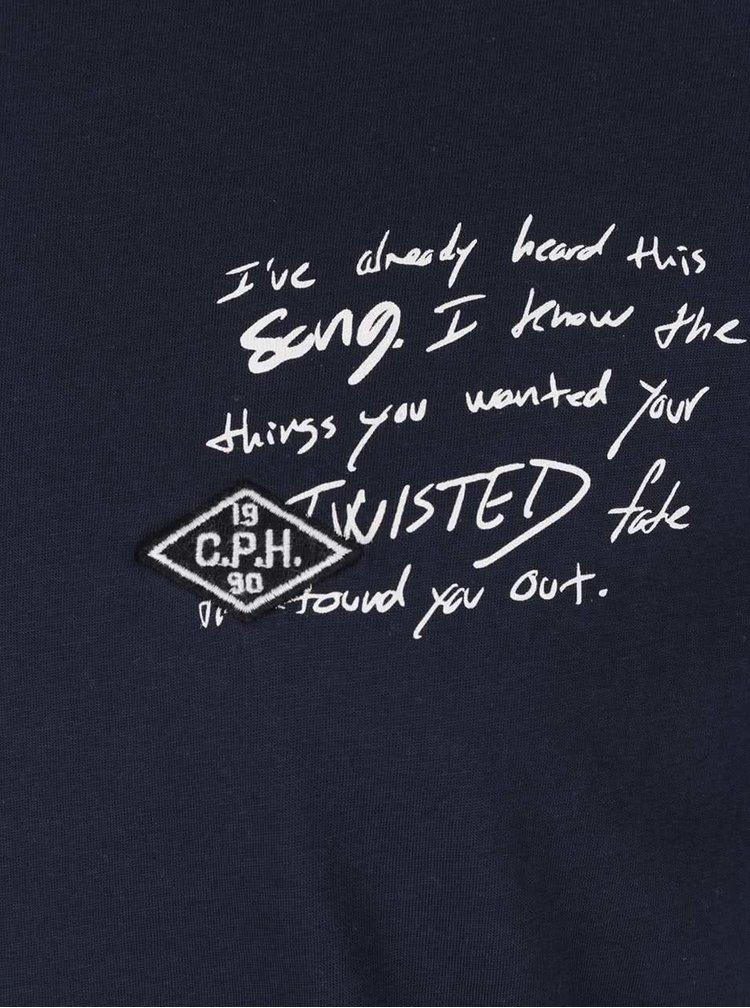 Tmavě modré triko s potiskem a nášivkou Jack & Jones Sound