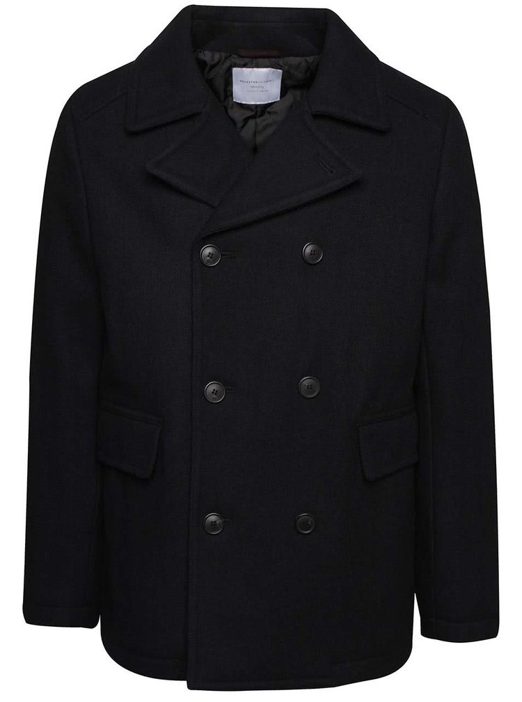 Tmavomodrý kabát s prímesou vlny Selected Homme New Mercer
