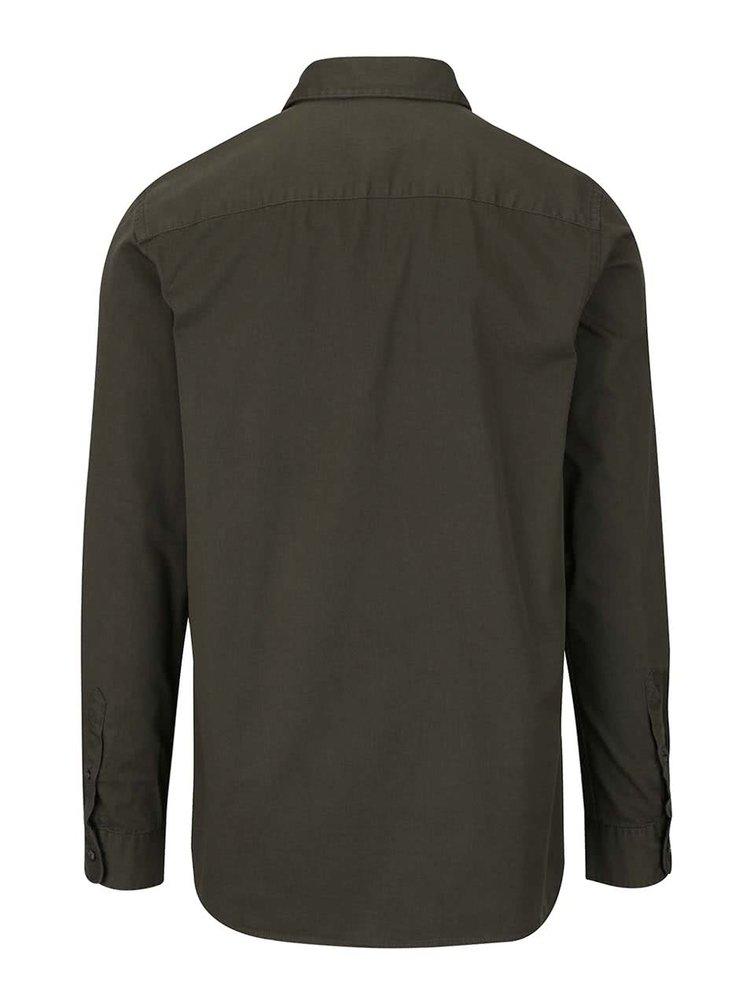 Kaki košeľa s vreckom a suchým zipsom Jack & Jones Land