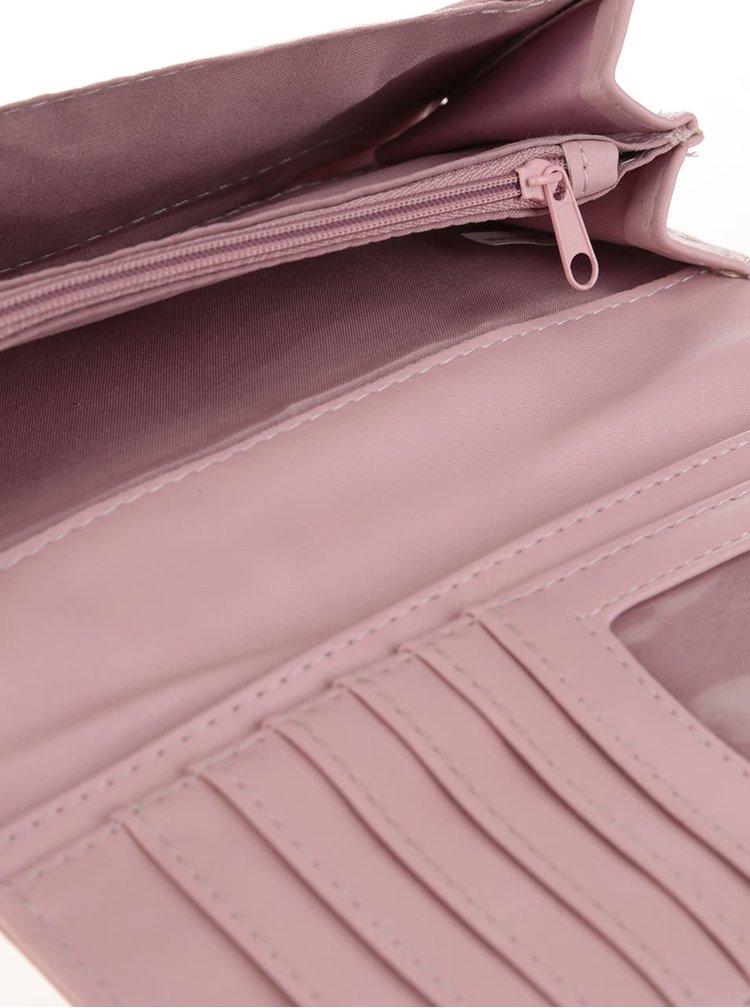 Svetloružová peňaženka s potlačou Disaster