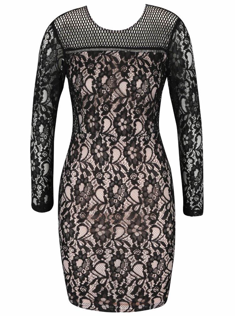 Růžovo-černé krajkové šaty AX Paris