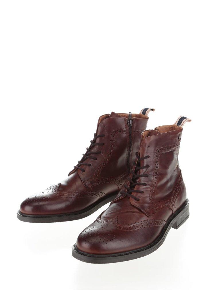 Hnědé kožené kotníkové brogue boty Jack & Jones Hugh