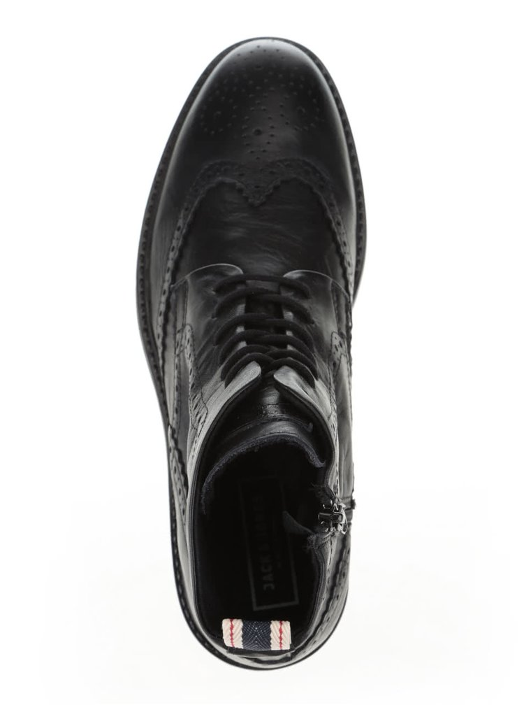 Ghete Brogue negre Jack & Jones Hugh din piele