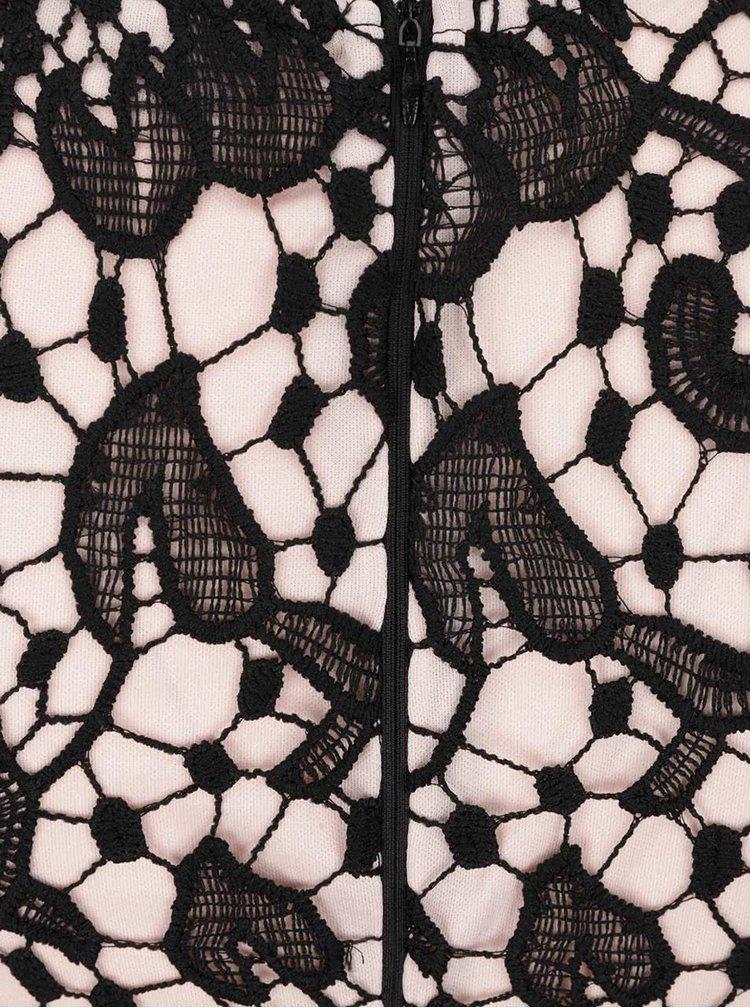 Čierne čipkované šaty s kvetinovým vzorom AX Paris
