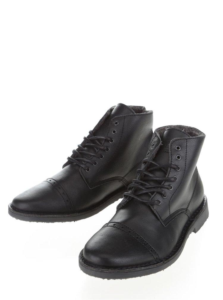 Černé kožené kotníkové boty Jack & Jones Gobi