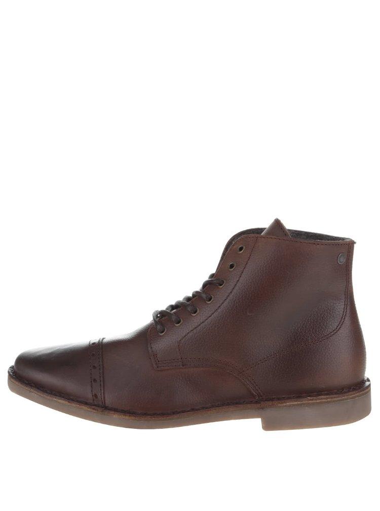 Tmavohnedé kožené členkové topánky Jack & Jones Gobi