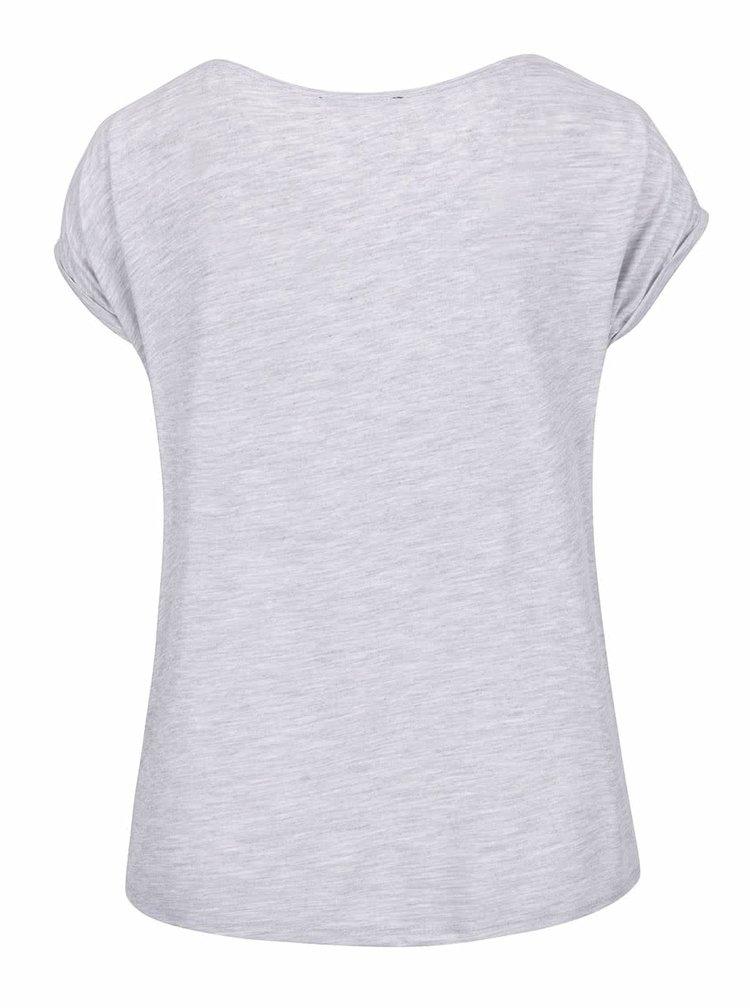 Šedé žíhané tričko s potiskem Haily´s Babe