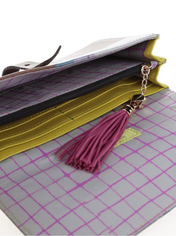 Hnědá peněženka s barevným potiskem Disaster