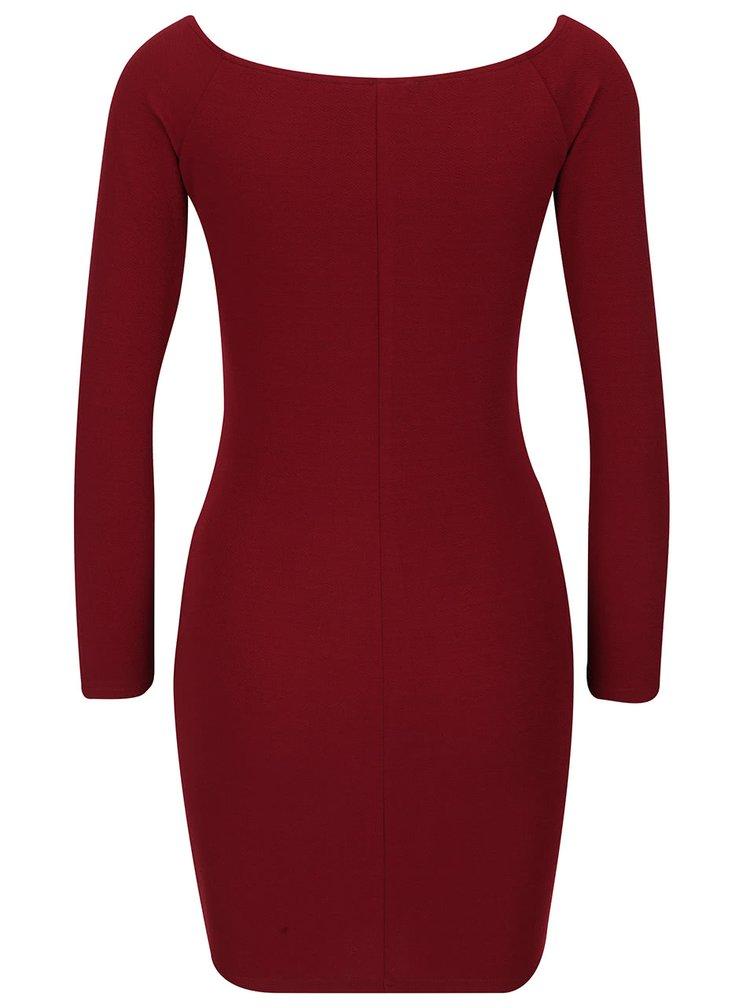Vínové priliehavé šaty s dlhým rukávom AX Paris