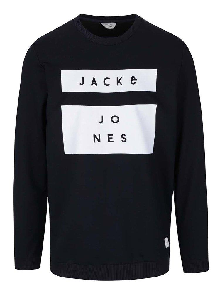 Tmavomodrá mikina s nápisom Jack & Jones Box