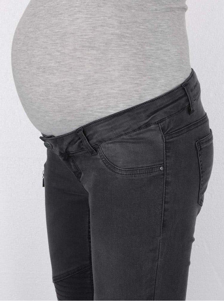 Tmavě šedé těhotenské džíny Mama.licious Biker