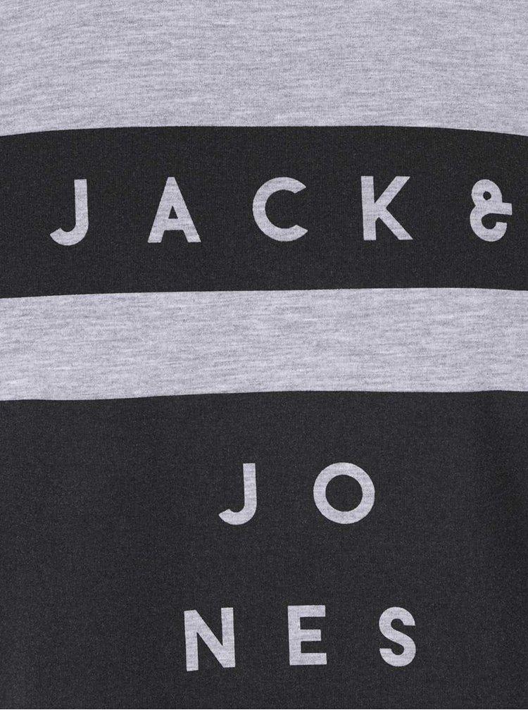 Světle šedá žíhaná mikina s nápisem Jack & Jones Box