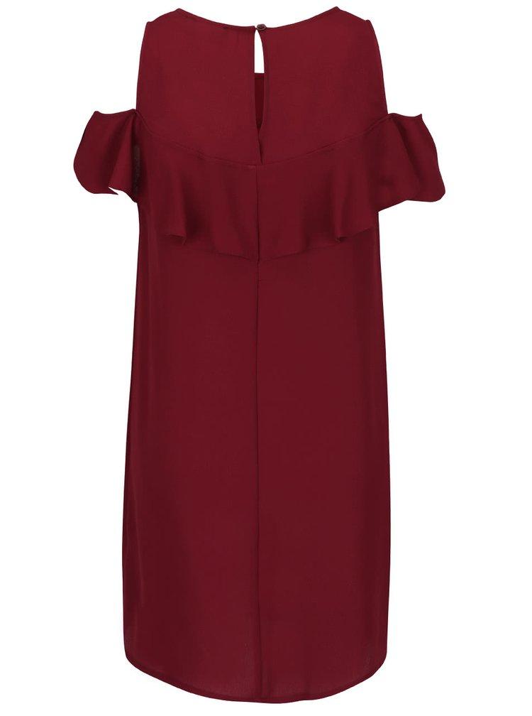 Vínové šaty s volánem AX Paris