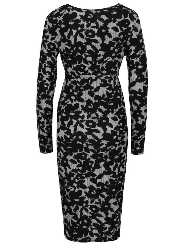 Černé vzorované těhotenské šaty Mama.licious Shady