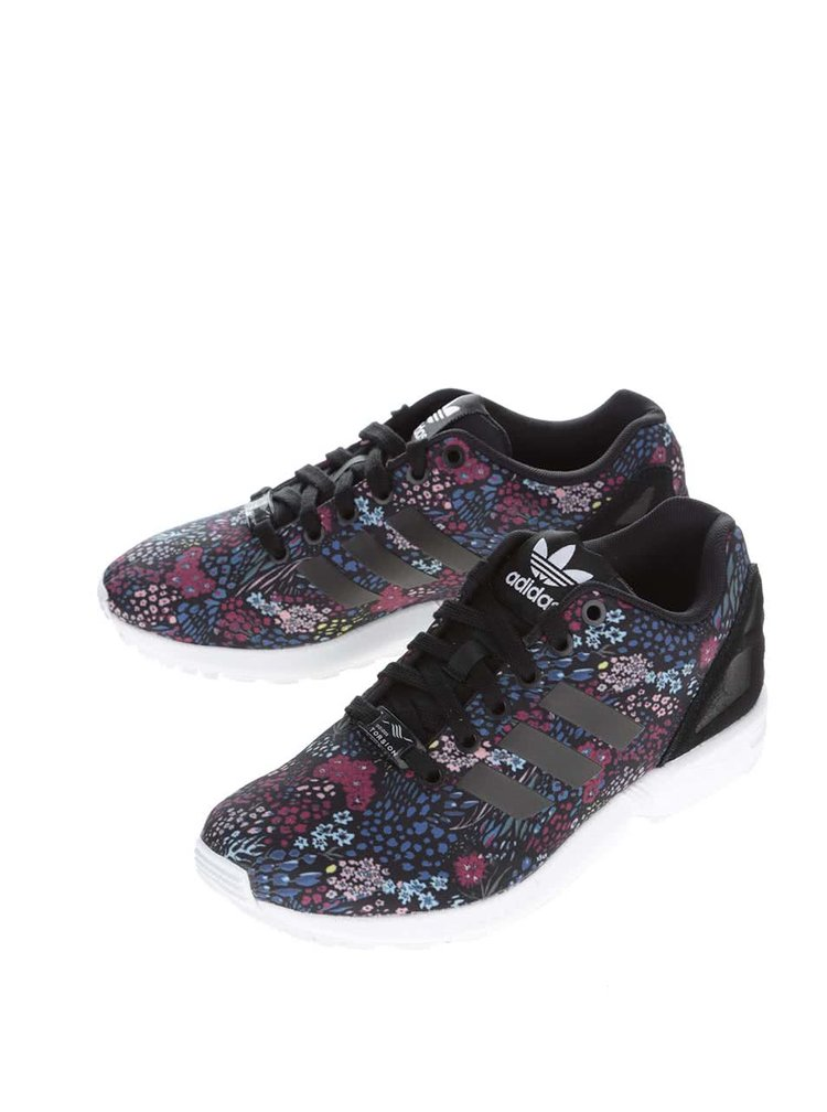 Pantofi sport adidas Originals Flux negri cu imprimeu floral
