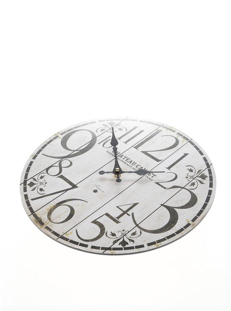 Béžové drevené hodiny s ornamentami Dakls