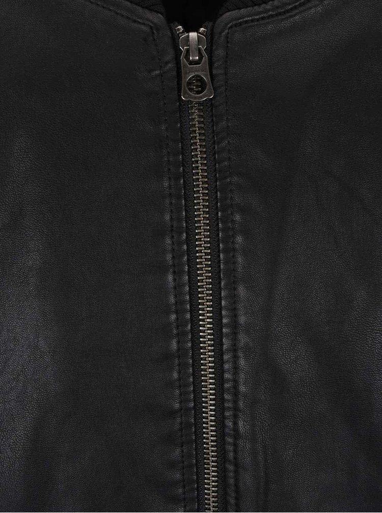 Čierna koženková bunda Jack & Jones Rollout