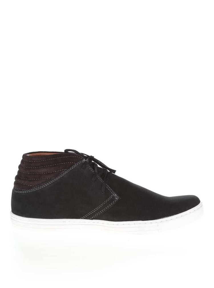 Hnedo-čierne pánske semišové členkové topánky OJJU