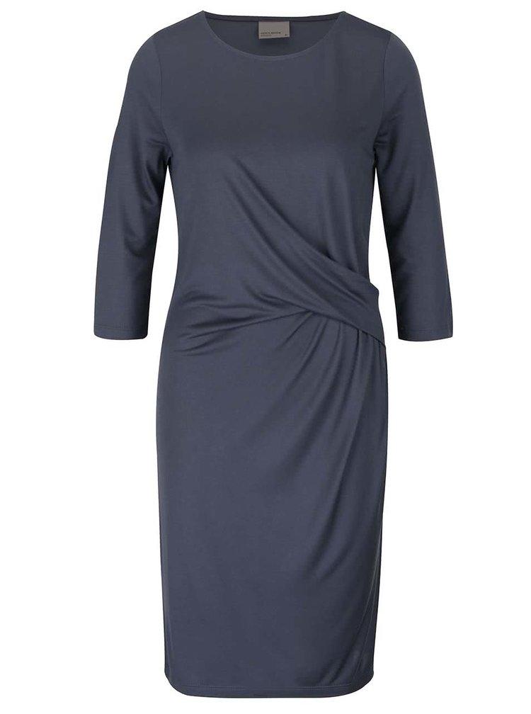 Šedomodré šaty s 3/4 rukávem VERO MODA Monica
