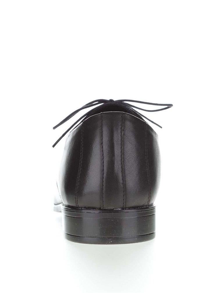 Čierne pánske kožené poltopánky OJJU