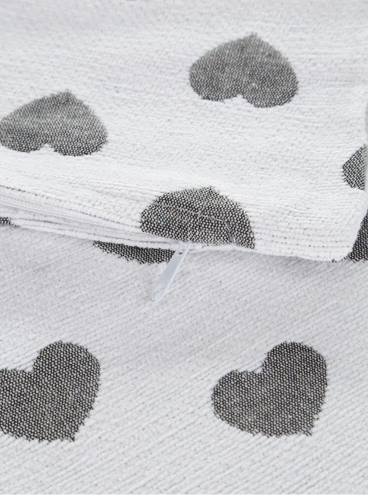 Krémový návlek na polštář se srdíčky Dakls