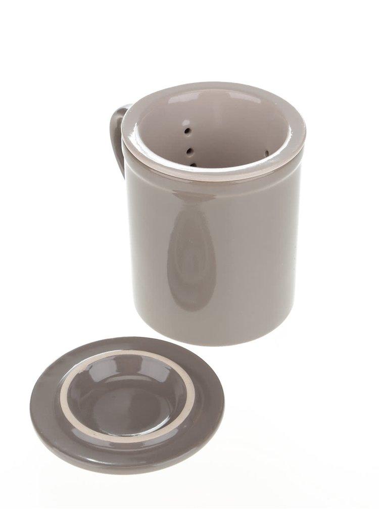Hnedý keramický hrnček so sitkom a pokrývkou Dakls